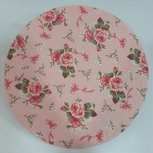 Capa para sousplat fundo rosa com Rosas e laços