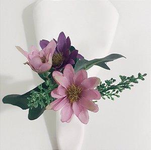Porta guardanapo Flor rosinha e roxa
