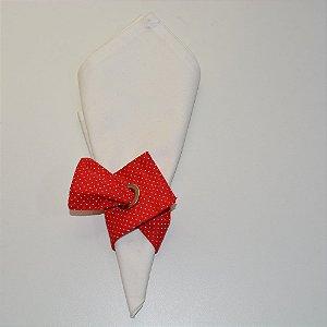 Porta guardanapo de tecido fundo vermelho com micro bolinhas brancas