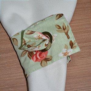 Porta guardanapo de tecido fundo verde água clarinho com Rosas