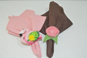 Kit 2 pota guardanapos Feltro Flamingo rosa e flor
