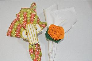 Kit 2 Porta guardanapos Feltro cacto e flor laranja