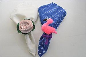 Kit 2 Porta guardanapos Feltro flamingo e flor rosa