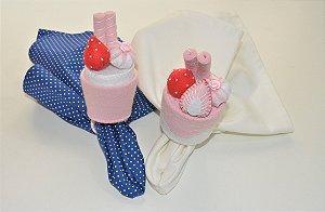 Kit 2 Porta guardanapos Confeitos rosa com morangos