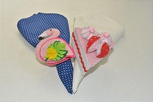 Kit 2 Porta guardanapos Feltro Flamingo rosa e bolo com cobertura de morango
