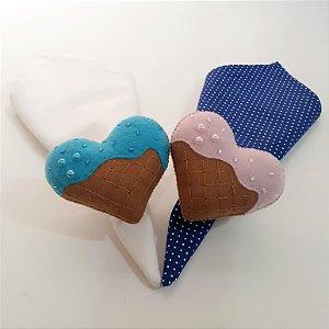 Kit 2 Porta guardanapos Feltro corações com detalhes azul e  rosa