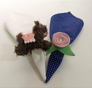 Kit 2 porta guardanapos lobinho e flor rose