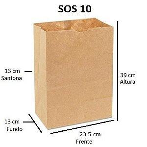 Sacos de Papel 80 gramas - SOS 10 - Sem Alças - FARDO C/ 250 unidades - SEM IMPRESSÃO