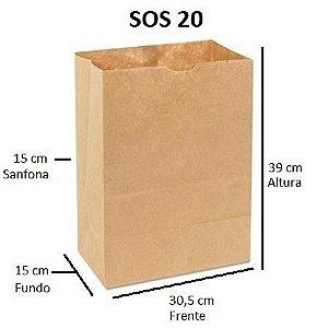 Sacos de Papel 80 gramas - SOS 20 - Sem Alças - FARDO C/ 250 unidades - SEM IMPRESSÃO