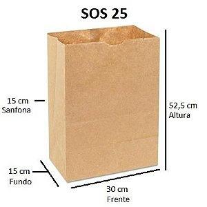 Sacos de Papel 80 gramas - SOS 25 - Sem Alças - FARDO C/ 250 unidades - SEM IMPRESSÃO
