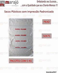 Saco Plástico PEAD Impresso Guarda-Volumes na cor vermelha em 1 Lado - Alta Densidade - 50x75 - Transparente - Fardo com 600 unidades