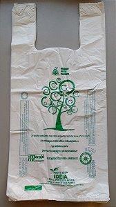1000 unidades - Sacolas plásticas Oxi-biodegradáveis Brancas LISAS - Tamanho 40x50 - Capacidade 5 Kg - Impressão sobre o material utilizado em 1 Lado e nas laterais