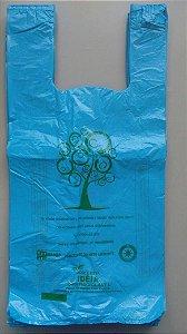 1000 unidades - Sacolas plásticas Oxi-biodegradáveis Azul LISAS - Tamanho 40x50 - Capacidade 5 Kg - Impressão sobre o material utilizado em 1 Lado e nas laterais