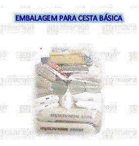 Saco plástico Cristal em PEBD 53x85 para cesta básica com 10 (dez) unidades