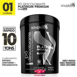 PÓ DESCOLORANTE PLATINUM PREMIUM BLOND C/ PLEX| DUST FREE 10 TONS