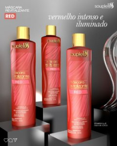 MÁSCARA REVITALIZANTE RED - EFEITO VERMELHO 300ML SOUPLELISS