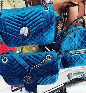 Bolsa veludo azul