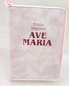 Biblia Ave Maria Rosa com Zíper Media