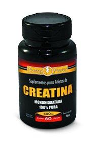 1022 Creatina Monohidratada 100% Pura 600mg 60 Cápsulas