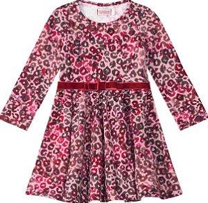 Vestido Estampado Oncinha - Rosa e Lilás - Malwee Carinhoso