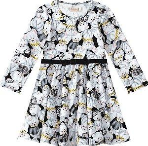 Vestido Estampado Ursinho - Branco e Preto - Malwee Carinhoso