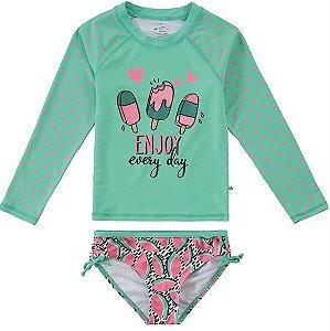 Conjunto Proteção UV Picolé Infantil Menina Verde e Rosa - Malwee