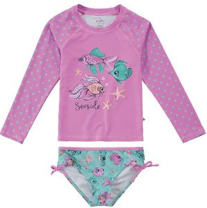 Conjunto Proteção UV infantil Menina Peixinhos Rosa e Verde - Malwee