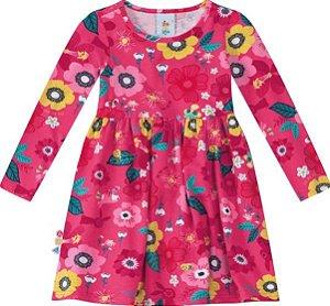 Vestido Infantil Estampado Flores Rosa - Malwee Zig Zig Zaa
