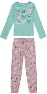 Pijama Raposinha Infantil Rosa e Azul Turquesa - Malwee