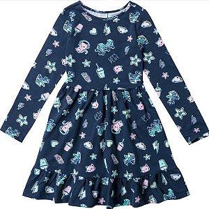 Vestido infantil Estampado Azul Marinho - Malwee