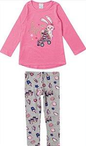 Conjunto Infantil Coelhinho Rosa e Cinza - Malwee