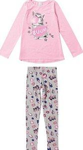 Conjunto Infantil Menina Gatinho Rosa Neon e Cinza - Malwee