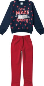 Conjunto Moletom Infantil Menina Azul e Vermelho - Malwee