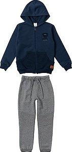 Conjunto Infantil de Moletom Azul Marinho e Cinza - Malwee