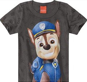 Camiseta Infantil Menino Patrulha Canina Chase Cinza - Malwee