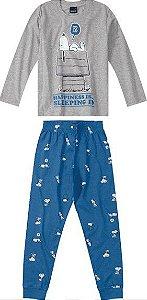Pijama Infantil Snoopy Cinza e Azul  - Malwee