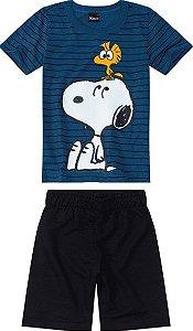 Conjunto Infantil Menino Snoopy Azul e Preto - Malwee