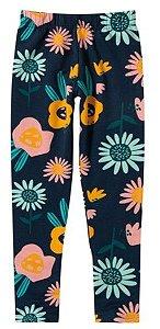 Calça Legging Flanelada Juvenil Flores Azul Marinho - Malwee