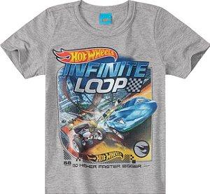 Camiseta Infantil Menino Hot Wheels Cinza - Malwee