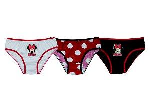 Kit de 3 Calcinhas da Minnie Disney - Branca Vermelha Preta - Infantil