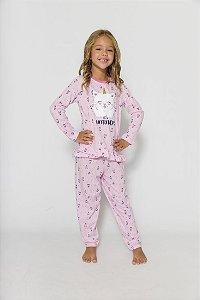 Pijama Gatinho Rosa - Infantil