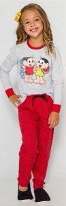 Pijama Infantil Turma da Mônica Vermelho e Cinza - Coleção Mãe e Filha