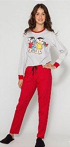 Pijama Juvenil Turma da Mônica - Vermelho e Cinza - Coleção Mãe e Filha