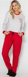 Pijama Adulto Mônica Vermelho e Cinza - Coleção Mãe e Filha
