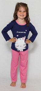 Pijama Infantil Gatinha - Rosa e Azul - Primeiros Passos