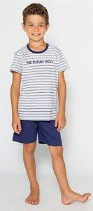 Pijama Infantil Menino Future Boss  Azul - Coleção Família