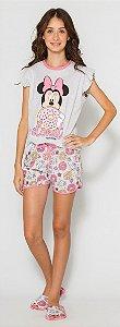 Pijama Juvenil Minnie Rosa - Coleção Mãe e Filha