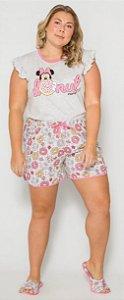 Pijama Adulto Plus Size Minnie Rosa - Coleção Mãe e Filha