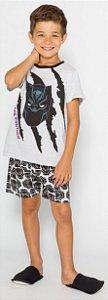 Pijama Infantil Pantera Negra Cinza - Coleção Pai e Filho