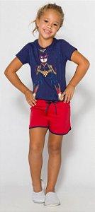 Pijama Infantil Capitã Marvel Azul Marinho Brilha Escuro - Coleção Mãe e Filha